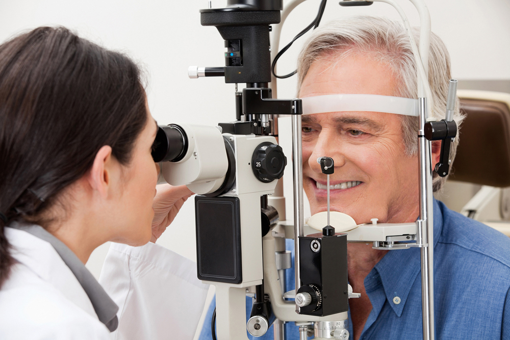 man getting examined for glaucoma